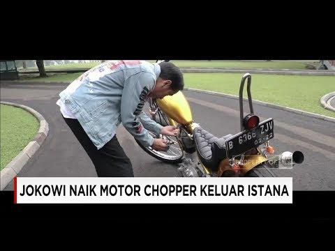 Bergaya Anak Muda, Jokowi Naik Motor Chopper Keluar Istana