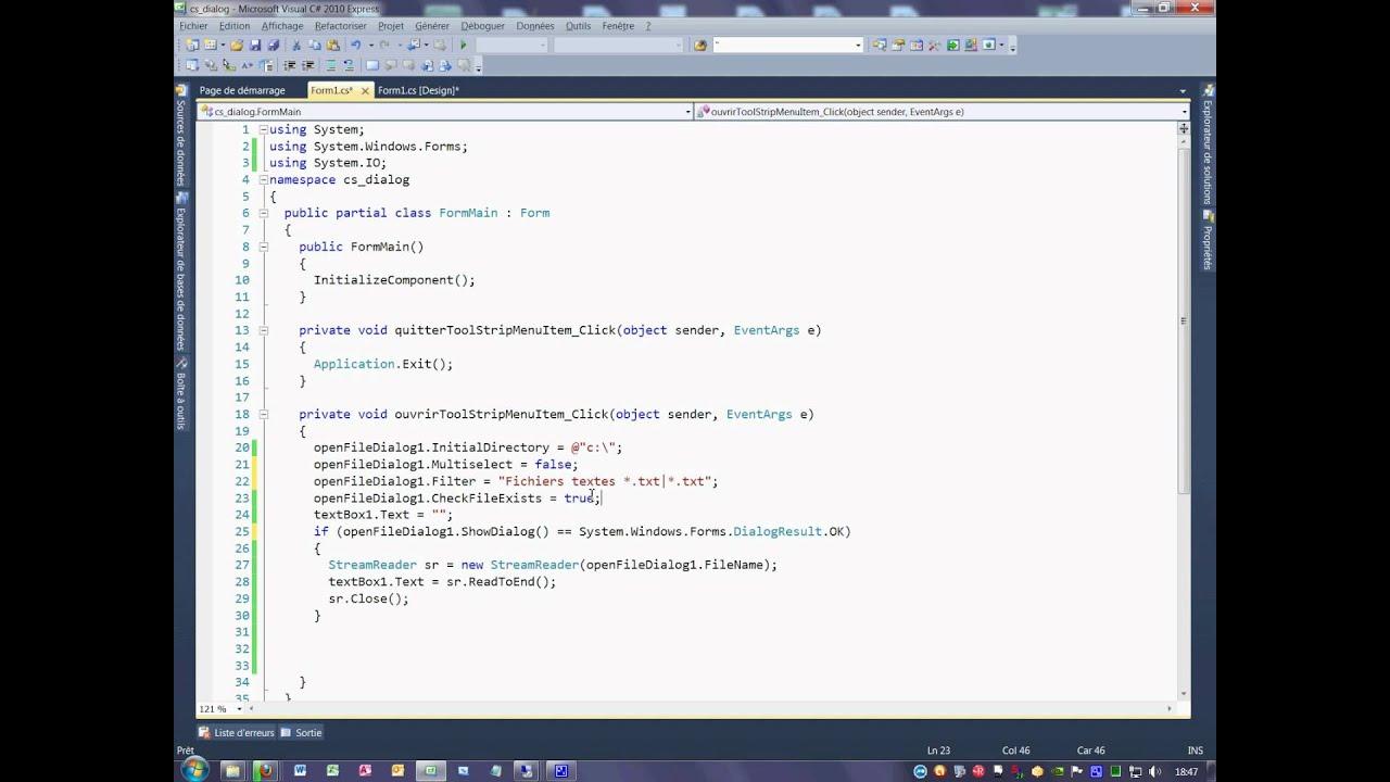 Tutoriel 70 OpenFileDialog en C# en français quatrième partie