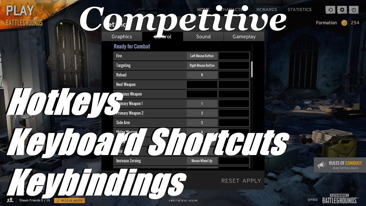 Competitive Hotkeys And Keyboard Shortcuts Keybindings Pubg Pc