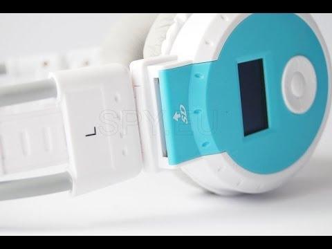Headphones with MP3 player, radio and LCD display  - SPY.EU