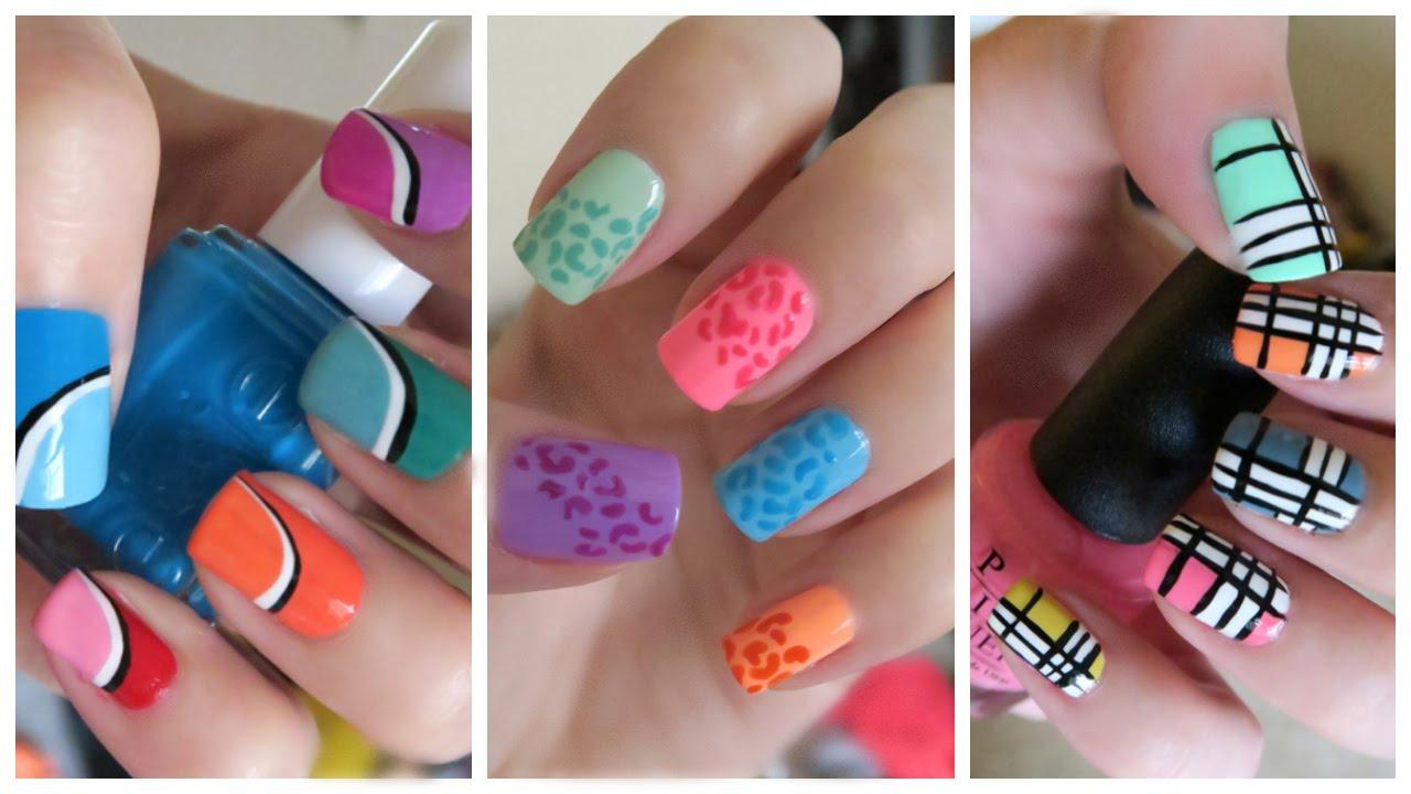 summer nail art three colorful