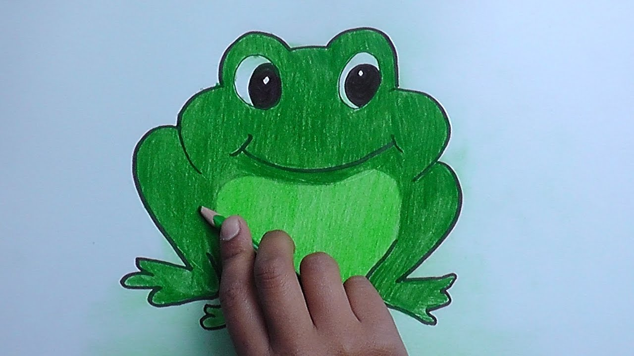 Worksheet. Como dibujar y pintar a Sapo Verde  How to draw and paint Sapo