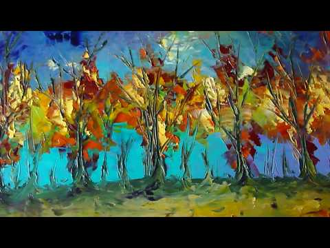 Landscape Palette knife Oil Painting on Canvas by Eugenia Abramson