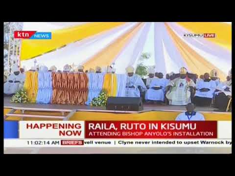 Opposition leader Raila and DP Ruto attend the Bishop Anyolo\'s installation in Kisumu