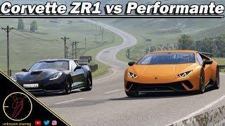 Chevrolet Corvette ZR1 C7 vs Lamborghini Huracan Performante at Highlands / Assetto Corsa
