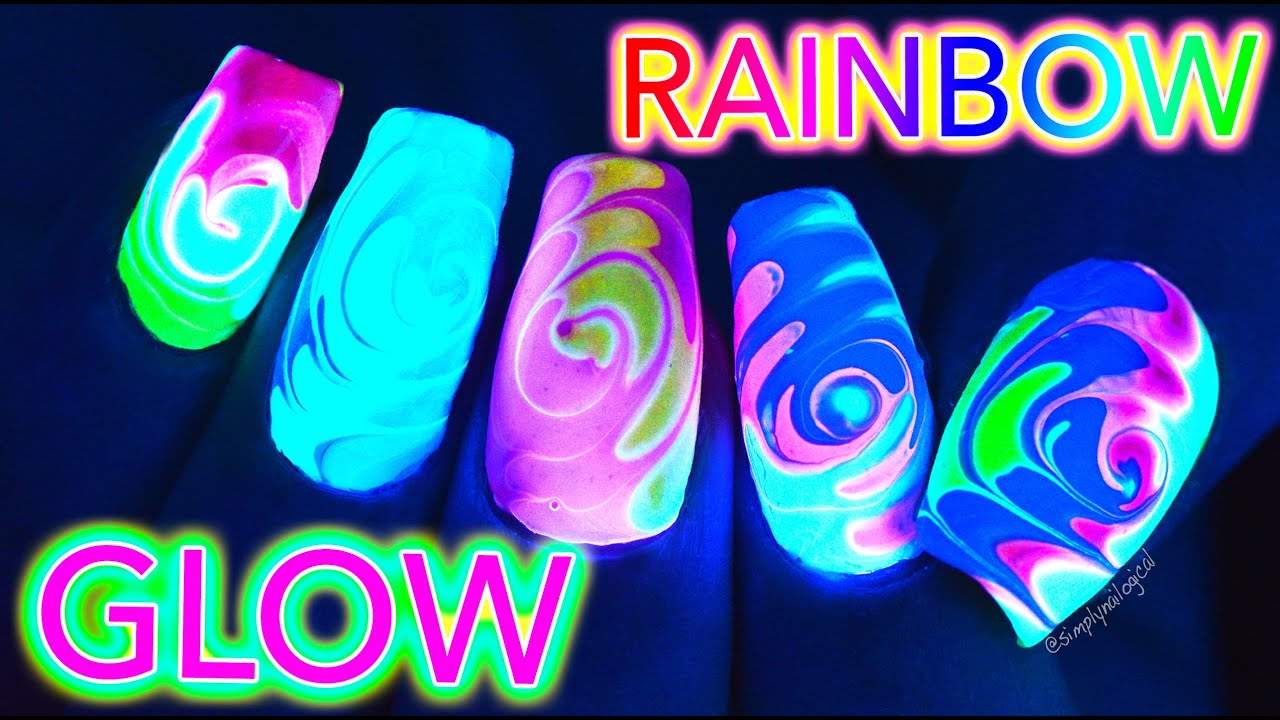 Glow Rainbow Swirl Nail Art Untz Untz Youtube