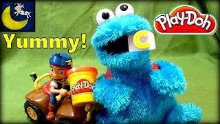 cookie monster eating play doh letter c is for cookie starring jake and the neverland pirates