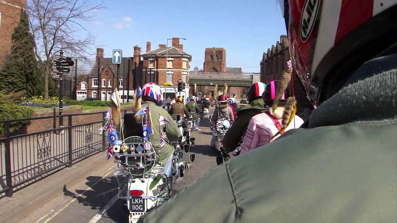 Shrewsbury Vespa & Lambretta Scooter Rideout - YouTube
