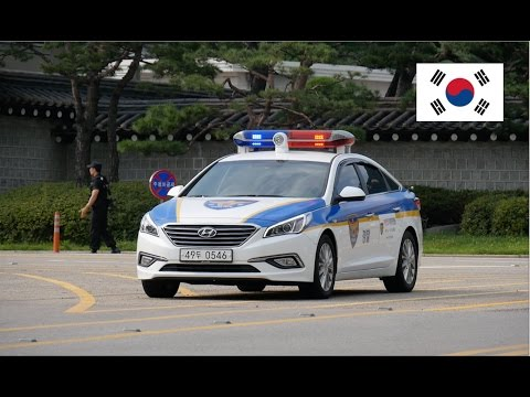 Seoul (South Korea) Police Car With Lights Guarding President's Office
