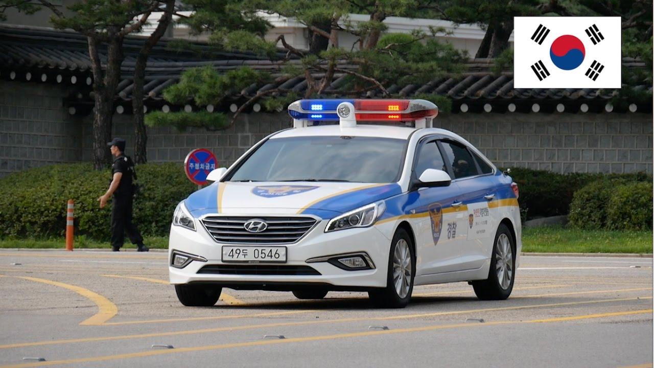 Hyundai Sonata Police Car >> Seoul (South Korea) Police Car With Lights Guarding President's Office - YouTube