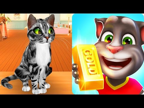 Talking Tom Gold Run VS REAL Cat Run / Cartoon Games Kids TV