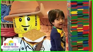 Repeat youtube video Legoland Hotel Family Fun Activities for Kids! Character Breakfast + Campfire smores + Lego building