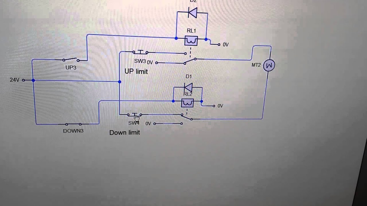 Reversing motor circuit with limit switches on