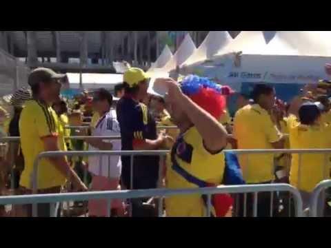 Cántico de los hinchas colombianos en Brasilia.