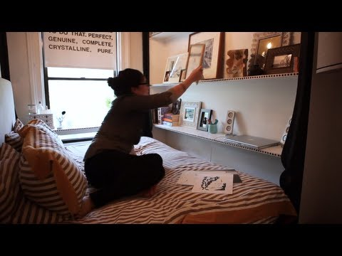 Womanu0027s Half Bedroom Apt Has Awesome Design   Tiny, Eclectic, Amazing  Spaces Video   YouTube Part 72