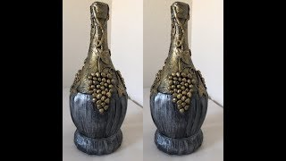 Garrafa decorada com metalização