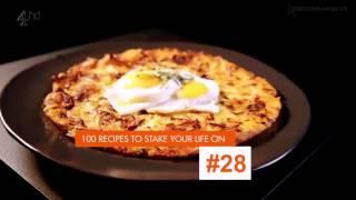 Запеченный лук порей с сыром грюйер и жареные яйца