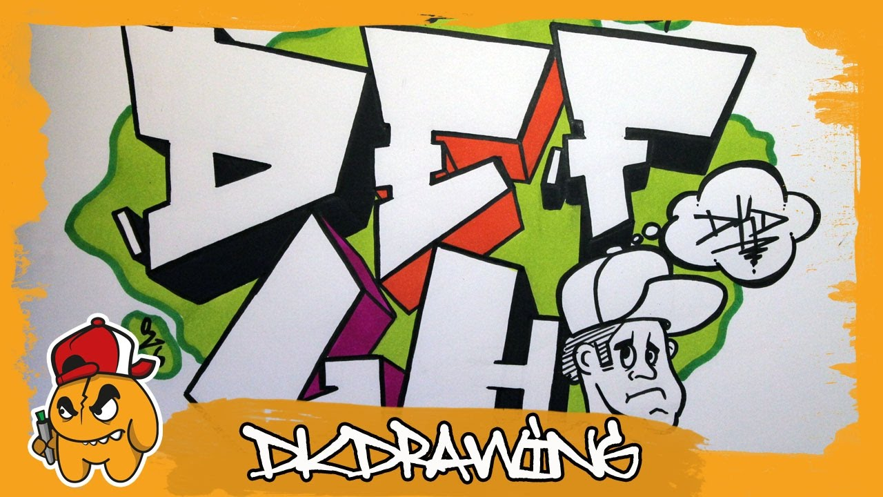 Simple Graffiti Alphabet How To Draw Graffiti Letters D To H Youtube