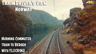4K CABVIEW: Morning commuter train to Bergen with flooding