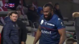 Peni Ravai cheered by fans after man of the match ball carrying performance vs Dragons 2018