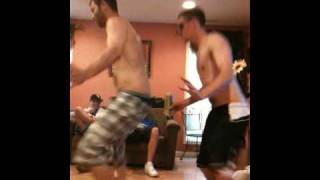 Guy with penis on chest dancing