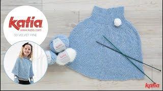 How to Knit a Girls Poncho with Pom Pom