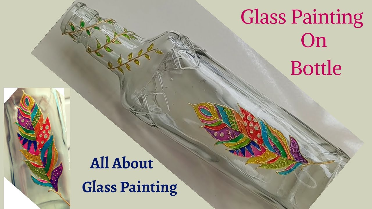 Easy Glass painting on Bottle /ബോട്ടിൽ ആർട്ട്‌ / Glass painting for Beginners  in Malayalam