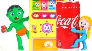 KIDS FIND A GIANT COKE ❤ Superhero Babies Play Doh Cartoons For Kids