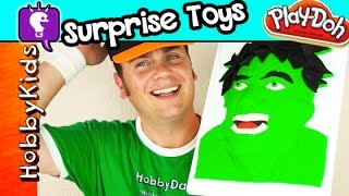 Hulk 3D Play-Doh Face SURPRISE TOYS Makeover! Hero Sculpture Twisted Boards HobbyKidsTV