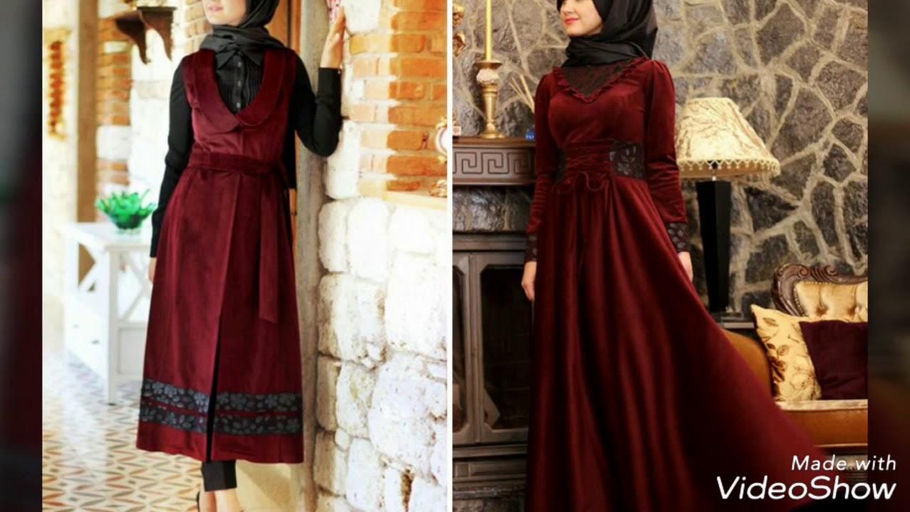 5b5467b12 ملابس محجبات فساتين شتاء 2018 موضة و ازياء المحجبات hijab fashion style
