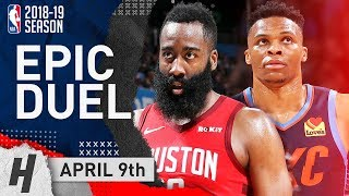 James Harden vs Russell Westbrook EPIC Duel Highlights Rockets vs Thunder 2019.04.09 - Face to Face!