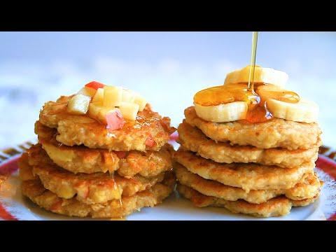 健康早餐饼-l-两种水果口味燕麦牛奶煎饼-l-快手美味健康无添加剂-小朋友的最爱-值得一试-l-oatmeal-pancakes