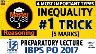 Master Class | Inequality | #1 Trick | Reasoning | Preparation Class 3 | IBPS PO 2017