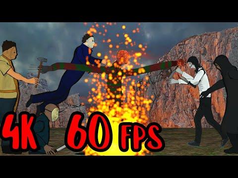 4K 60fps Jason Voorhees vs Freddy Krueger vs Michael Myers vs Jeff vs Leatherface vs Ghostface