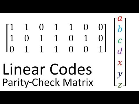 Error Correcting Codes 2c: Linear Codes - Parity-Check Matrix