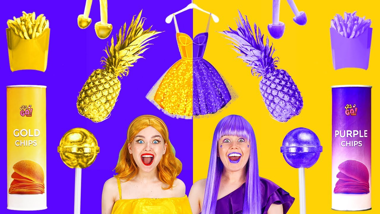 Download EATING ONLY ONE COLOR FOOD FOR 24 HOURS! Last To STOP Eating PURPLE VS GOLD Food by 123 GO! FOOD