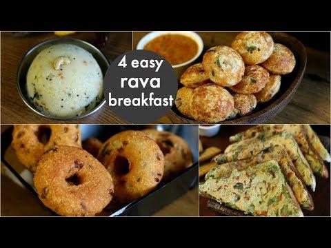 4 easy & instant rava breakfast recipes | healthy & quick breakfast recipes | rava recipes