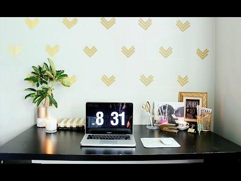 Easy Home Office Decor Ideas|$1 Wallpaper|GOLD GLAM !