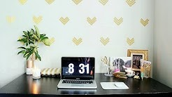 Easy Home Office Decor Ideas|$1 Wallpaper|GOLD GLAM !