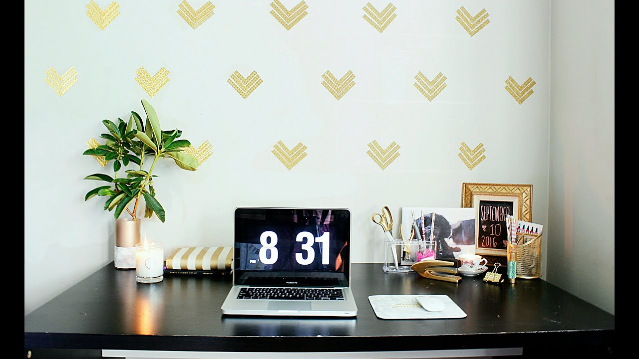 Easy Home Office Decor Ideas|$1 Wallpaper|GOLD GLAM ! - YouTube