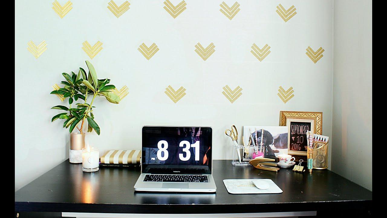 Easy Home Office Decor Ideas|$1 Wallpaper|GOLD GLAM ...