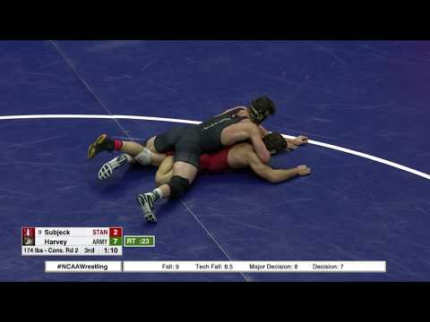 2018 NCAA Wrestling 174lbs: Ben Harvey (Army) Dec Keaton Subjeck (Stanford)