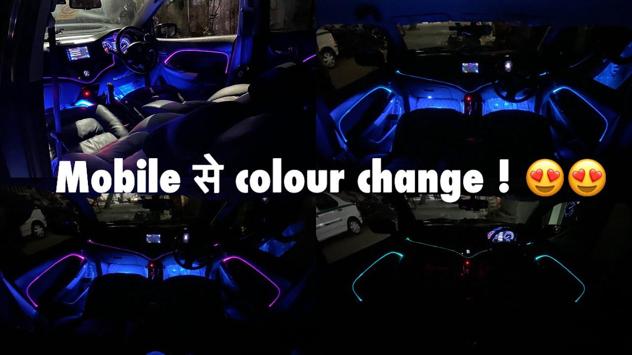 Installed new app control ambient neon el wire in baleno | baleno interior modified |modified baleno