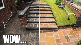 I shocked myself with these results... SUPER SATISFYING Indian Sandstone Cleaning!