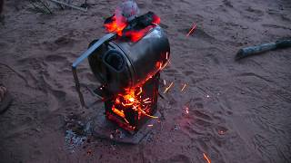 Billy Can Cake! On The Firebox Camping Stove! Campfire Treat Baked In A Pot Oven!