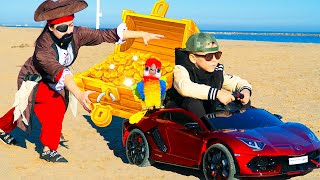 Artem Found Toy Pirate Treasures Chest! Fun story for children