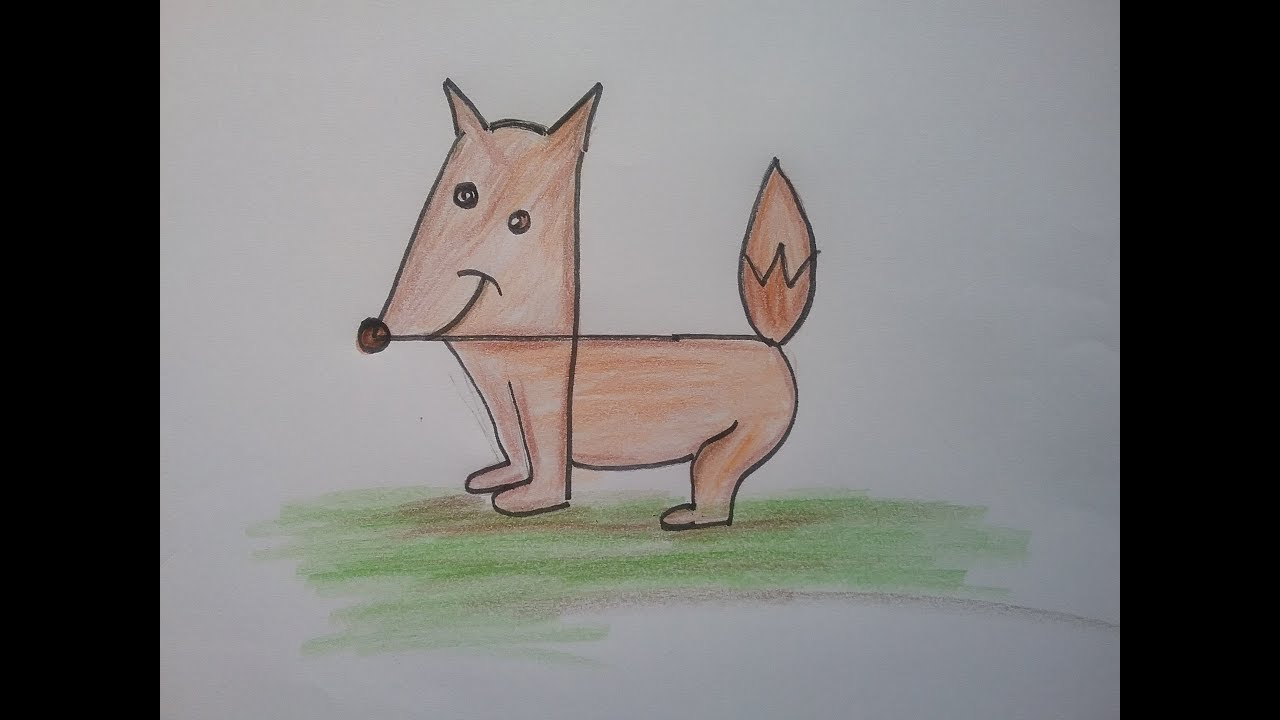 How To Draw A Fox With Number 4 Easy Drawing With Numbers For Kids