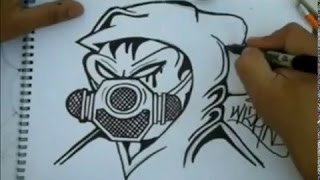 Pk how to draw Gas Mask graffiti character by Wizard