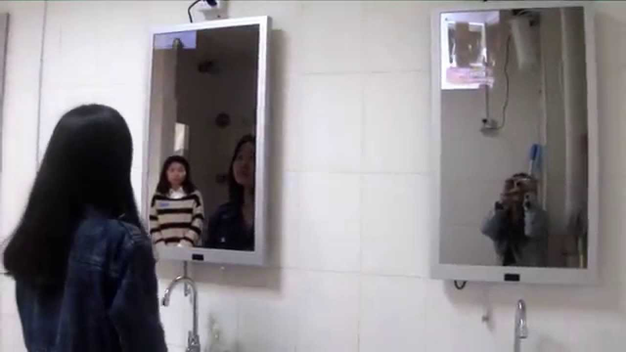 Bathroom mirror advertising display solution  YouTube