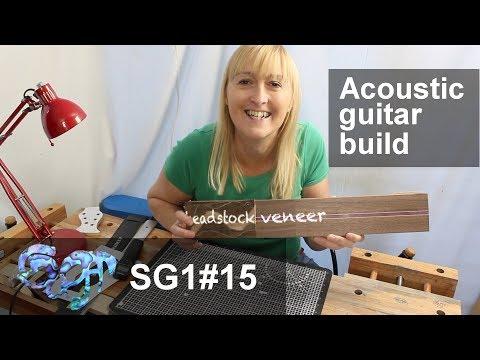 SuGar SG1 acoustic guitar build part 15: Applying the headstock veneer